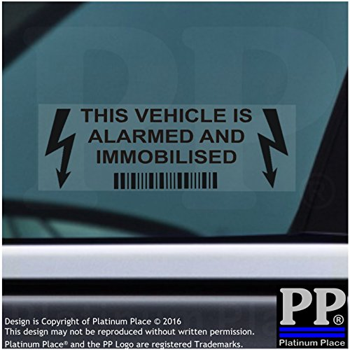Platinum Place 5 x Alarm and Immobiliser Fitted Stickers-BLACK onto CLEAR-Internal Window Sticker-30mmx87mm-LIGHTNING DESIGN-Alarmed and Immobilised-Car,Van,Truck,Caravan,Motorhome,Lorry,Taxi