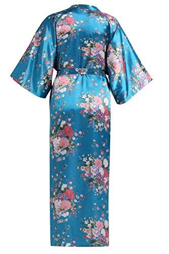 BABEYOND Damen Morgenmantel Maxi Lang Seide Satin Kimono Kleid Blütenkirsche Muster Kimono Bademantel Damen Lange Robe Blumen Schlafmantel Girl Pajama Party 135 cm Lang (See Blau) - 2