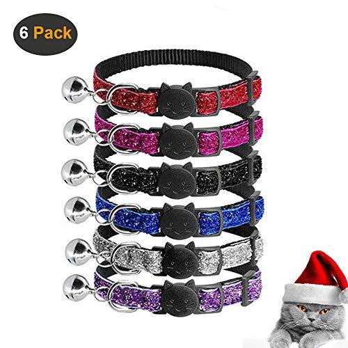 AIDIYA Reflektierendes Katzenhalsband mit Glocke, 6er Set, Robust, Nylon, Verschiedene Farben, Coole Halsbänder für Hauskatzen, kleine Hunde