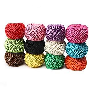 Cuerda de yute, Cuerda de hilo natural de color 2 mm 3pl. 327 yardas. Cuerda de 12 colores. Rollo de cuerda para liar…