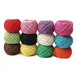 Cuerda de yute, Cuerda de hilo natural de color 2 mm 3pl. 327 yardas. Cuerda de 12 colores. Rollo de cuerda para liar. Foto de jardín. Envoltura de regalos. Artesanía y manualidades. Decoración.