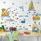 Bilderwelten Wandtattoo Unterwasserwelt - U-Boot Set Wandtattoo Wandsticker Kinderzimmer Illustration, Größe: 30cm x 45cm