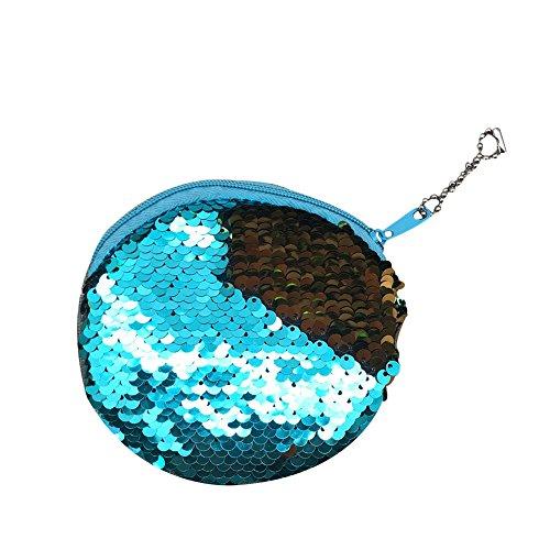 Qinlee Rund Geldbörse Pailletten Stil Kinder Münztüte Student Brieftasche Kosmetiktasche Kleine Tasche Geldbeutel für Mädchen (Blau)