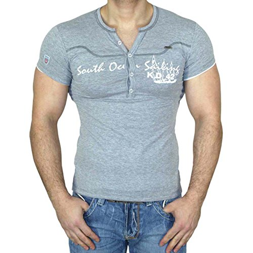 Männer Für Kd-shirts (Kickdown Herren V-Neck T-Shirt Freizeit V-Ausschnitt Kurzarm Shirt Slim KD-2316, Farbe:Grau;Größe:S)