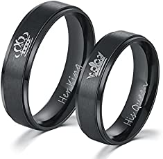 Moneekar Jewels 2PCS Her King His Queen Black Ring Titanium Stainless Steel Wedding Band Set Couples Anniversary Engagement Promise Ring (PLEASE SELECT MEN & WOMEN PAIR SIZE FROM STYLE OPTION AS PER YOUR SIZE REQUIREMENT)