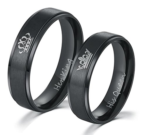 Moneekar Jewels 2PCS Her King His Queen Black Ring Titanium Stainless Steel...