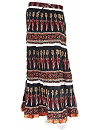 Sunshine Ecommerce Bollywood Design Black n Red Pure Coton Long Skirt 302