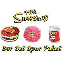 Brigamo 84732 - Simpsons 3er Set Spar Paket Plüsch Donut, Krusty Burger & Plüsch Duff Bier Bierdose