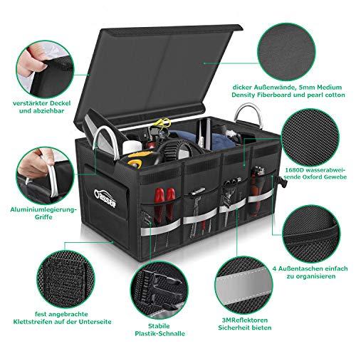 Oasser Kofferraumtasche AutoKofferraum mit Deckel Auto Faltbox Auto Kofferraum mit Klett Organizer Auto Aufbewahrungsbox Taschen Praktisch und Wasserdicht