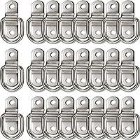 24 Anclas de Amarre con Anillo en D Anillos en D de Acero Inoxidable de 1/ 4 de Pulgada Anillo en D Plata de Remolque de 700 Libras Placa de Montaje de Anillo en D para Correas de Amarre de Trinquete