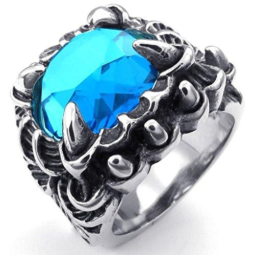 Adisaer Herren Ring Edelstahl Klauen mit Kristall Ringe Silber Schwarz Blau Für Männer Ring Größe 57 (18.1) (Kostüm Ringe Der Herr Ringgeister Der)