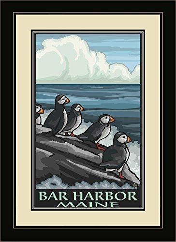 Northwest Art Mall pal-3244mfgdm Puf Bar Harbor Maine Papageitaucher gerahmtes Wandbild Art von Künstler Paul A. lanquist, 13von 40,6cm