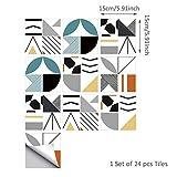 Topmail 24 Pièces Stickers Carrelage Auto-adhésif Imperméable en PVC Design de Carreaux de Ciment Autocollant Mural Décoratif pour Cuisine Salle de Bain (Ligne Géométrique Multicolore, 15x15cm)