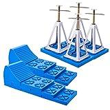 Multifunktions 2x Keile + 4x Stützbock Set für Wohnwagen & Wohnmobil