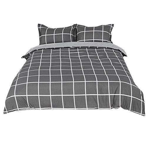 sourcingmap Single/Twin Dunkelgrau und Weiß Plaid Muster Duvet Kissenbezug Bettwäsche - Männer Bettbezug Twin