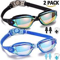 Gafas de natación, 2 unidades de gafas de natación para adultos, hombres, mujeres, jóvenes y niños, sin fugas, antiniebla, protección UV 400, impermeables, 180 grados de visión clara, triatlón, negro