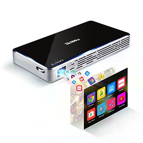 Mini Beamer DLP Projektor, Slidoow Tragbarer Heimbeamer Multimedia Heimkino Video Projector unterstützt FHD 1080P Android 7.1 mit Außeraxialer Ray Machine 150 ANSI LM 2000:1 Kontrast für Video TV Filme - Multimedia-projektor Tragbar