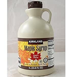 Kirkland Maple Syrup, 100% Pure and Natural, Grade A Amber, Rich Taste 1Litre