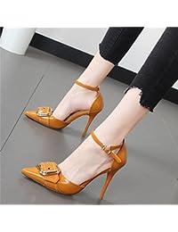 Xue Qiqi Satin pointe des souliers à talon épais bouche peu profondes avec des chaussures simples, chaussures de travail,39, gris