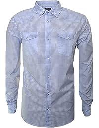 Armani Jeans Men's Blue Check Long Sleeve Shirt