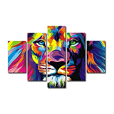 HtpAr 5 Piece Free shipping Original Animal Oil painting pictures Art print on the canvas, wall decor, Home wall art picture,color, Lion king (Unframed) Unframed htp15 50 inch x30 inch - low-cost UK light store.