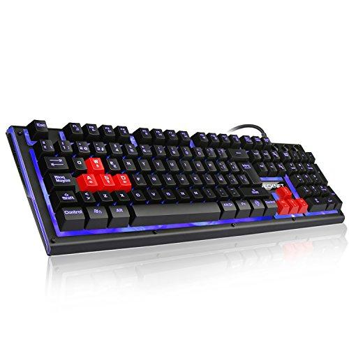 Teclado para Juegos TECKNET, Teclado Mecánico Gaming con Retroiluminación LED en 3 Colores y Tacto Mecánico con Cable USB. Distribución de Teclas en Español (Contiene la Ñ).