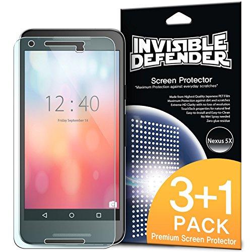 Nexus 5X Schutzfolie Invisible Defender (4 Pack/ Maximale HD Klarheit) Nexus 5X Displayschutz Lebenslange Garantie, perfekte Touch Präzision, High Definition (HD) Durchsichtige Folie für das Google Nexus 5X (2015)