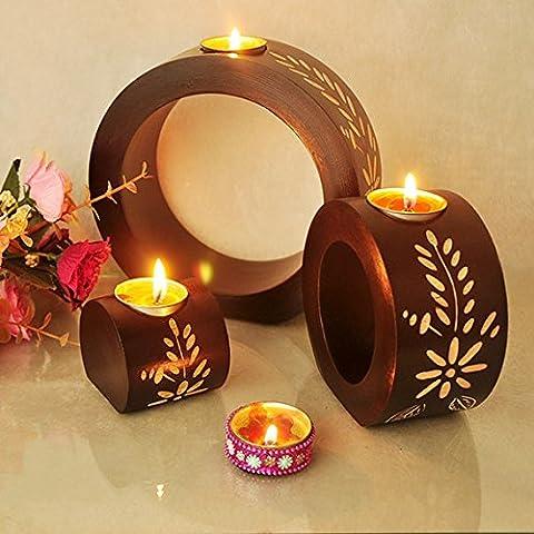 MMMM-Restaurante inicio romántico candelabro de madera artesanal el candelabro tres-set ,tres portavelas,2