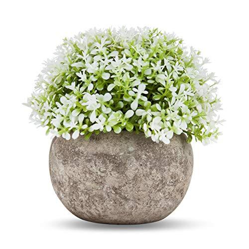 Tebrun Piante artificiali in vaso Mini plastica finte piante fiori finti con vasi grigi per decorazioni per la casa