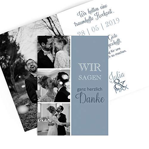 greetinks Hochwertige Dankeskarten zur Hochzeit Bastel Mix in Blau | Inkl. Druck Ihrer Texte und Fotos | Klappkarte | 20 Stück | Hochzeit | Danksagungskarten (Silberne Hochzeit Sand)
