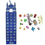 Eid Party Handgefertigt Filz Ramadan / Eid Wandbehang Countdown Kalender mit / Geschenk Taschen - blau + 15 Geschenke zufällige Auswahl