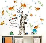 CczxfccNuovo Cat Cattura Pesce Adesivi Cartoon Decalcomanie Da Muro In Vinile Decalcomanie Adesivi Per Camera Dei Bambini Adesivi Home Decor