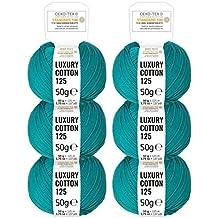 100% algodón mercerizado en 15 brillantes colores - Set de 300g (6 x 50g) - Lana con certificado Standard 100 OEKO-TEX para hacer punto y ganchillo de fairwool - petrol