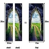 L-com LLL MT023 Türbild Türaufkleber Türposter 3D DIY Dreidimensional Selbstklebend Wasserdicht Wandgemälde Gewölbte Tür Sterne Grünes Gras Muster Pfad PVC Material
