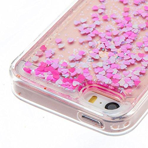 iPhone SE Hülle, iPhone 5S Silikon Schutzhülle, Anfire Bling 3D Transparent Handy Case Hülle für iPhone SE / 5 / 5S Weich TPU Silikon Schutzhülle Kreativ Dynamisch Treibsand Liquid Fließen Flüssig Mus Rosa