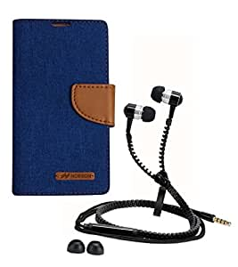 Aart Fancy Wallet Dairy Jeans Flip Case Cover for Asuszen-5 (Blue) + Zipper Earphones/Hands free With Mic *Stylish Design* for all Mobiles- computers & laptops By Aart Store.