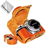 First2savvv Braun Premium Qualität Ganzkörper- Präzise Passform PU-Leder Kameratasche Fall Tasche Cover für Olympus OM-D E-M10 Mark III (14-42 EZ Zoom Lens) - XJD-EM10 III-09G11