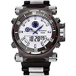 BOAMIGO Luminous Mens Watch with Rotating Bezel and Alarm Quartz Digital 50M Waterproof (Blue pin)