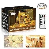 Led Fotoclips Lichterkette, Led Lichterkette, 6m/40 Foto Clips Lichterkette, 8 Mode Fernbedienung LED Batteriebetriebene Dekoration Lichterkette für Hängendes Foto, Party, Weihnacht (Warmweiß)