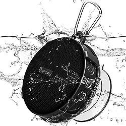 Onforu Mini Altavoz Inalámbrico Ducha IPX7 Impermeable Audio Portátil con 10 Horas de Reproducción, Mic Incorporado Sonido Estéreo V5.0 Manos Libres con Ventosa Extraíble para Piscina Playa Baño Hogar