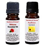 Gardens of Aroma - Hibiscus 10ml Essential Oils. Sunflower Essential Oil 10ml, Luxurious and Premium, High Quality, and Undiluted, Organic and Therapeutic Grade - Exceptional Choice for Aromatherapy, Massage and Aroma Diffusers - Suitable for All Skin Types - Use for Hair Care and Skin Care.