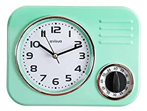 green kitchen clocks visua retro metal kitchen clock with mechanical timer 1397