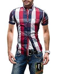 BOLF - Chemise casual - à carreaux - Col boutonné - Manches courtes – BOLF 5532 – Homme