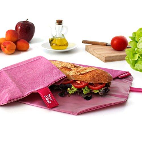 Rolleat BR-EC Purple - Porta bocadillos reutilizable, bolsa merienda, funda bocadillo, Sin BPA, Púrpura