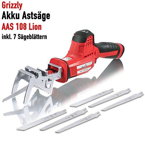 Grizzly Akku Astsäge AAS 108 Lion – Gartensäge inkl. Akku, Ladegerät und 7 Sägeblättern – NEUHEIT 2018 – werkzeugloser Sägeblattwechsel durch Schnellspannfutter