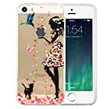 JIAXIUFEN Neue Modelle TPU Silikon Schutz Handy Hülle Case Tasche Etui Bumper für Apple iPhone 5 5S SE - Flower Small Girl