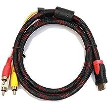jomoq 5pies hdmi macho a 3RCA Audio/de Audio y vídeo AV Cable adaptador convertidor para HDTV, DVD, y la mayoría de los proyectores LCD [no para PS4PS3y mayores modelos]