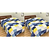 SS Sales 2 Blue Yellow Check Prints Reversible Single Bed AC Blanket \ Dohar Combo Set Of 2 Pc
