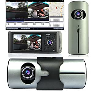 """Indigi ® Dash Cam 2.7 """"LCD TFT, double caméra objectif caméra de voiture avec Vision nocturne infrarouge GPS-Neuf"""