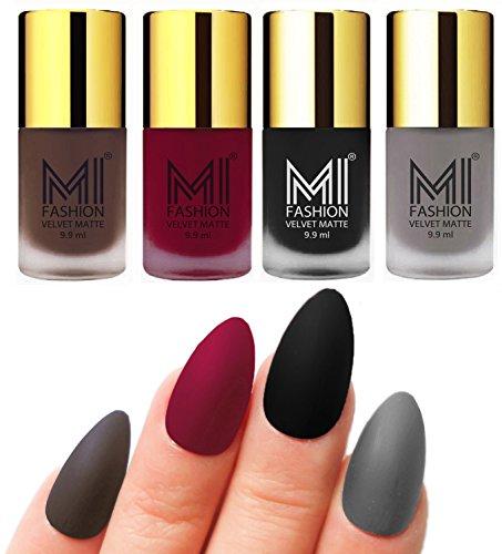 Matte Nail Polish Shades by MI Fashion®|Coffee Matte Nail Polish|Mauve Matte Nail Polish|Black Matte Nail Polish|Grey Matte Nail Polish Combo of 4 Pcs|9.9ml
